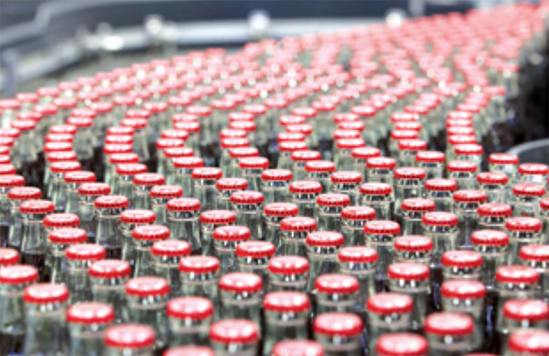 Coca Cola drinks in production, from Coca-Cola HBC 2015 Annual Report